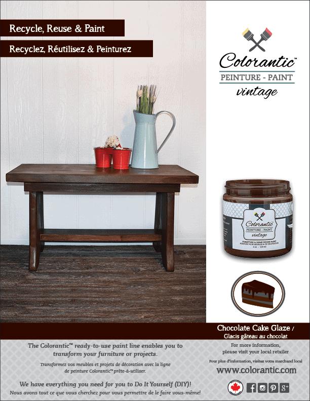 PUB Glacis brun chocolat - Chocolate cake Glaze | Peinture à la craie Colorantic | Chalk-Based Paint Colorantic