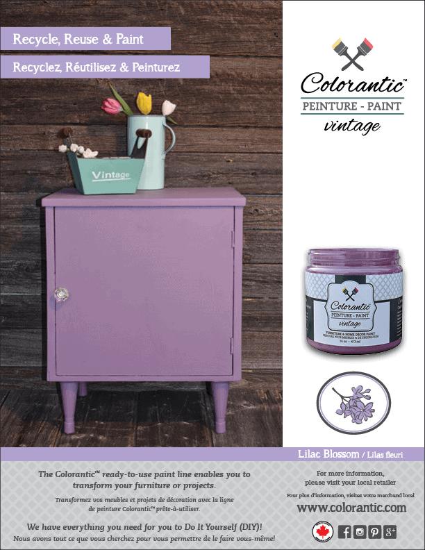 PUB Peinture à la craie Lilas fleuri - Chalk-Based Paint Lilac Blossom | Peinture à la craie Colorantic | Chalk-Based Paint Colorantic