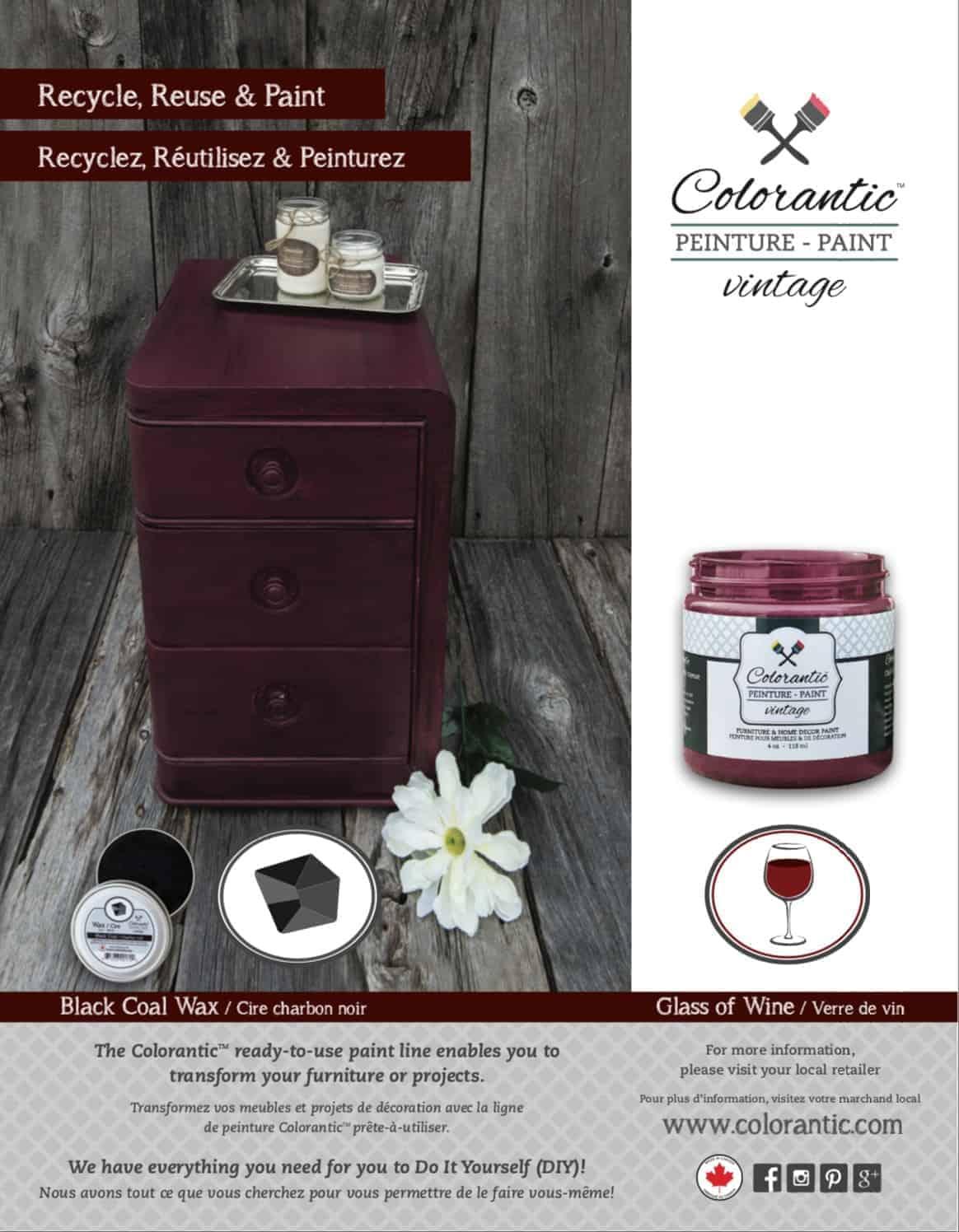 PUB Peinture à la craie verre de vin - Chalk-Based Paint glass of wine | Peinture à la craie Colorantic | Chalk-Based Paint Colorantic