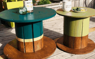 How to paint wood spools into patio side tables